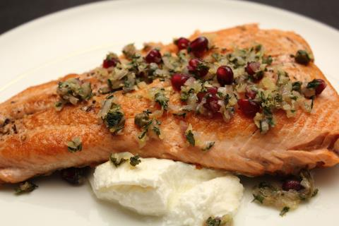 Plated salmon with pomegranate caponata