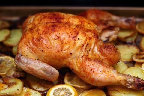 Pimentón roasted chicken on lemons and potatoes