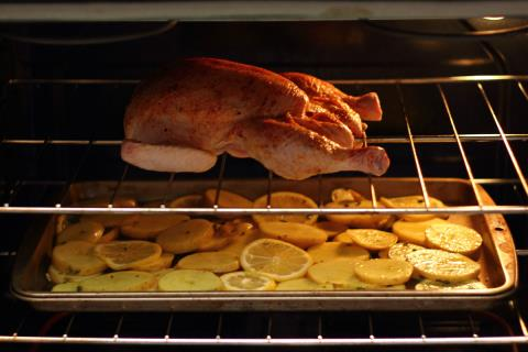 Roasting in the oven